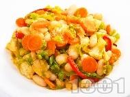 Зеленчукова салата с боб, праз, моркови и чушки